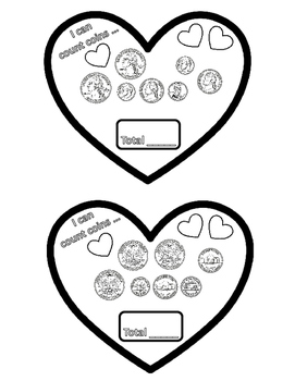 Valentine's Day Counting Coins Hearts