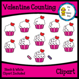 Valentine's Day Counting Cupcake Sprinkles Clipart