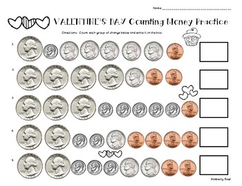 Valentine's Day Counting Money Practice Worskheet