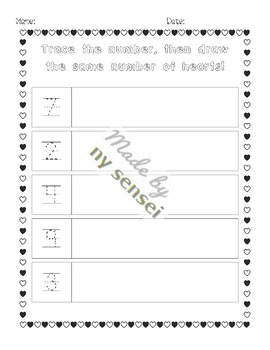 Valentine's Day Counting, Number Practice, 0-20