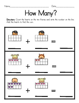 Valentine's Day Counting and Adding with Ten Frames FREEBIE!