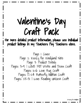 Valentine's Day Craft Pack: I Love Me, Bug, Butterfly, Unicorn