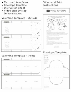 Valentine's Day Craft - SPANISH - Accordion Card & Envelope Templates