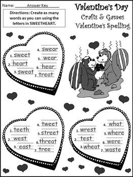 Valentine's Day Game Activities: Valentine's Day Crafts & Games Activity Packet