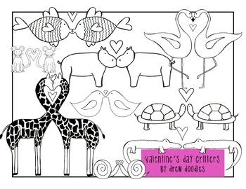 Valentine's Day Animals Clip Art--black line version