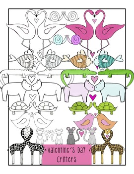 Valentine's Day Animals Clip Art-- color and black line COMBO