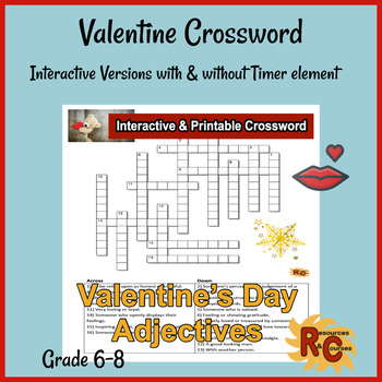 picture about Valentine's Day Crossword Puzzle Printable identify Valentines Working day Crossword Puzzle Quality 6-8