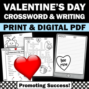 Valentines Day Crossword Puzzle No Prep Vocabulary Activit