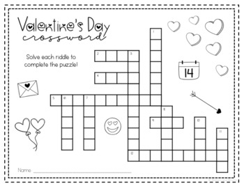 Valentine's Day Crossword Puzzle and Task Cards