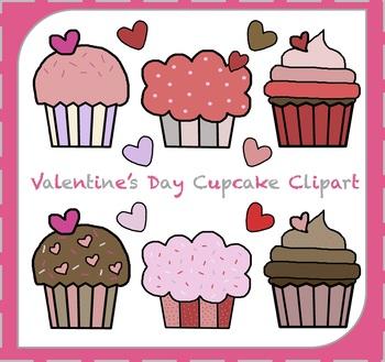 Valentine's Day Cupcake Clipart / Hearts Clipart {Valentine's Day}