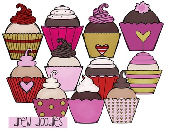 Valentine's Day Cupcakes Digital Clip Art Set