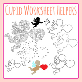 Valentine's Day Cupid Worksheet Helpers Clip Art Set for Commercial Use