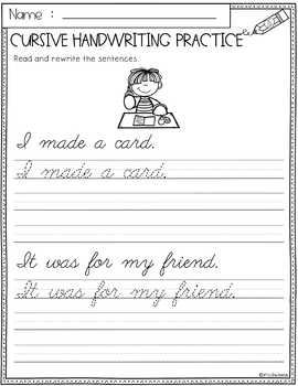 Valentine's Day Cursive Handwriting Practice
