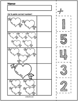Valentine's Day Cut & Match Worksheets | Numbers 1-5