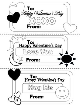Valentine's Day Cut Out Coloring Cards