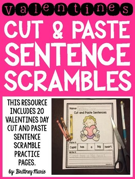 Valentine's Day Cut and Paste Sentence Scrambles