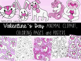 Valentine's Day Cute Animal Clipart, Coloring Pages and Posters!