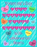 Conversation Heart Math Valentine's Day Data Graphing Mean Median Mode Range