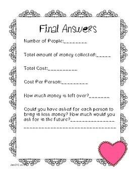 Valentine's Day Decimal and/or Fraction Challenge 5th Grade