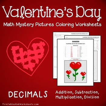 Valentine's Day Decimals Coloring, Valentines Decimals Mystery Pictures