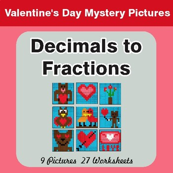Valentine's Day: Decimals To Fractions - Color-By-Number Math Mystery Pictures