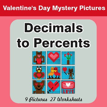 Valentine's Day: Decimals to Percents - Color-By-Number Math Mystery Pictures