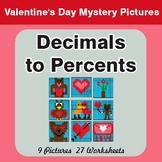 Valentine's Day: Decimals to Percents - Color-By-Number My