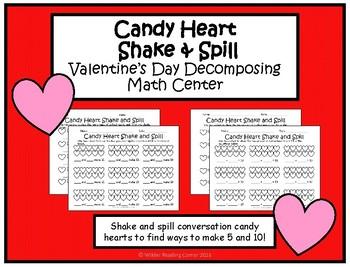 Valentine's Day Decomposing Kindergarten Math Center- Candy Heart Shake & Spill