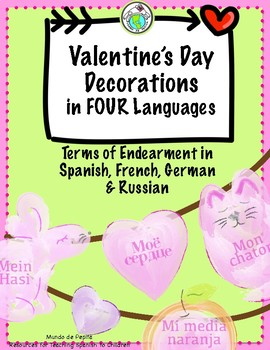 Valentine's Day Decorations Banner in 4 Languages Spanish German French Russian