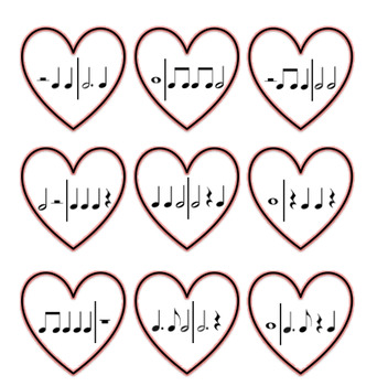 Valentine's Day Delivery Game for 2/4, 3/4, and 4/4 Time Signatures