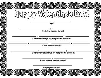 Valentine's Day Diamante Poem Poetry Frame