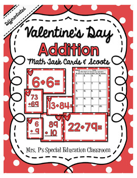 Valentine's Day Differentiated Addition Task Cards and Scoots