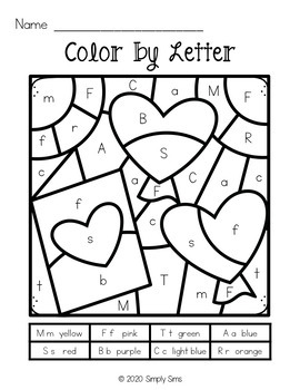 Valentine's Day | Differentiated Color by Code | Letters and Word Families