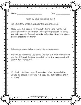 Valentine's Day Differentiated Color by Code Multiplication and Division