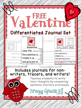 Valentine's Day Differentiated Journal Writing for Special Education FREE