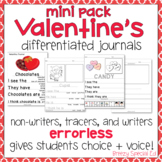 Valentine's Day Differentiated Journals - Writing for Special Education