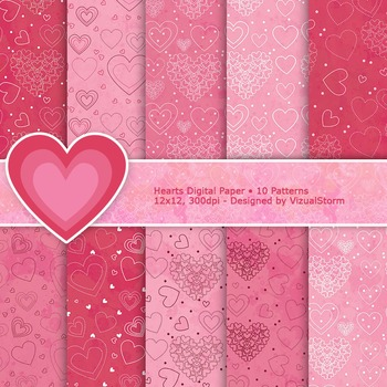 Romantic Digital Paper - 10 Printable Pink Hearts Patterns