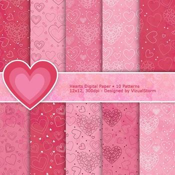 Romantic Digital Paper - 10 Printable Pink Hearts Patterns
