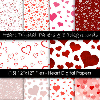 Valentine's Day Digital Paper - Red Heart Backgrounds