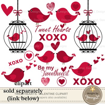 Valentine's Day Digital Papers and Cliparts
