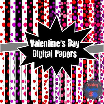 Valentine's Day Digital Papers with Frames