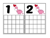 Valentine's Day Dinosaur Ten Frames Activity (Numbers 1-20)