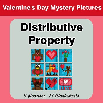 Valentine's Day: Distributive Property - Math Mystery Pictures / Color By Number