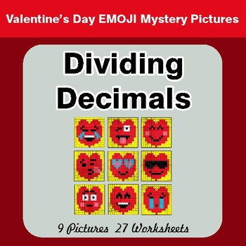 Dividing Decimals - Color-By-Number Valentine's Math Mystery Pictures