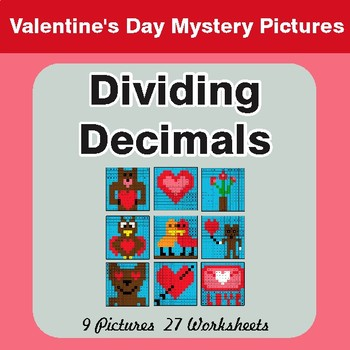 Valentine's Day: Dividing Decimals - Color-By-Number Math Mystery Pictures