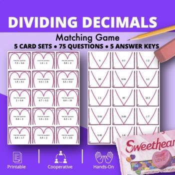 Valentine's Day: Dividing Decimals Matching Game