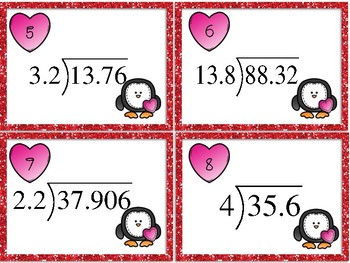 Valentine's Day Dividing Decimals Task Cards