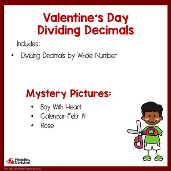 Valentine's Day Dividing Decimals by Whole Numbers