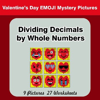 Valentine's Day: Dividing Decimals by Whole Numbers - Math Mystery Pictures