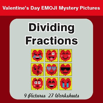 Valentine's Day: Dividing Fractions - Color-By-Number Math Mystery Pictures